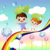 Copertina del libro di storia con due bambini felici — Vettoriale Stock