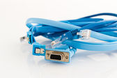 Various blue pc cables — Stock Photo