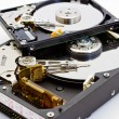 Detail comparison of  an open 2.5 and 3.5 disk drive — Stock Photo