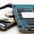 SSD vs HDD, new vs old, new technology with no mechanical elemen - Stock Photo