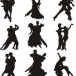 Stock Vector: Dancing silhouettes