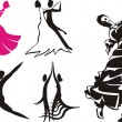 Stock Vector: Dance silhouettes & icons