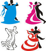 Ballroom dancing - silhouette — Stock Vector