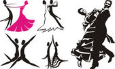 Dance silhouettes & icons — Stock Vector