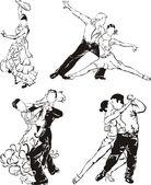 Ballroom dancing silhouettes — Stock Vector