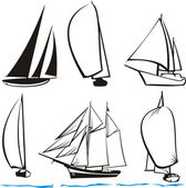 Yachts silhouettes — Stock Vector