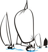 Regatta - sailing silhouettes — Stock Vector