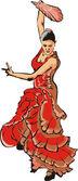 Flamenco - fiery woman — Stock Vector