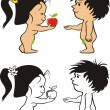 Stock Vector: Adam and eve - original sin