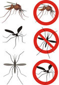 Mosquitoes - warning sign — Stock Vector