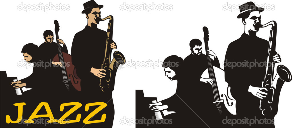 Jazz ensemble, jazz combo, rhythm section, horn section, jazz club, night club, double-bass — Stok Vektör #5687915