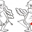 Old cupid - black and white - Stock Vector