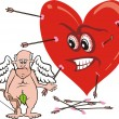 Stock Vector: Old cupid and angry heart