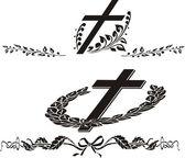 Cruz - decoración grave — Vector de stock