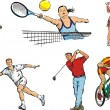 Stock Vector: Individual sports figures - outdoor