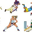 Stock Vector: Team sports figures - outdoor