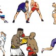 Stock Vector: Combat sports & tabble tennis figures