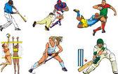 Team sports figures - outdoor — Stock Vector