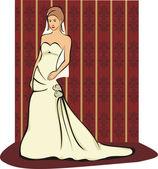 The bride - wedding gown — Stock Vector