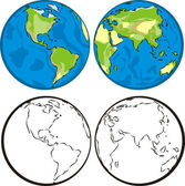 Earth hemispheres — Stock Vector