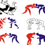 Постер, плакат: Wrestling silhouettes