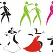 Ballroom dancing - icons — Stock Vector