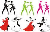 Ballroom dancing - icons — Stock Vector
