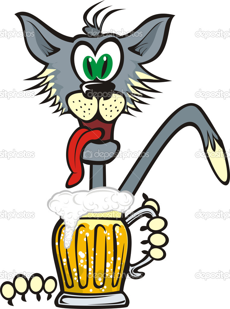 Рисунок кота с пивом