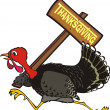 Runaway turkey - thanksgiving day — Stock Vector