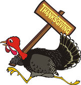 Runaway turkey - thanksgiving day — Vector de stock