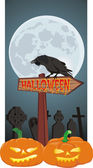 Halloween - signpost and raven — Stock Vector