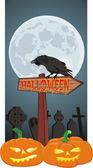 Halloween - signpost and raven — Stock Vector