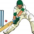 Cricket - bat and bat game - Stock Vector