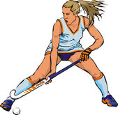 Women`s grass hockey — Stock Vector