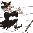 Chasing witch broomstick - Stock Vector