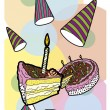 Stock Vector: Cake postcard