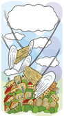 スイング天使背景 — ストックベクタ