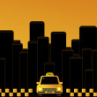 Night taxi in the city - Stock Vector