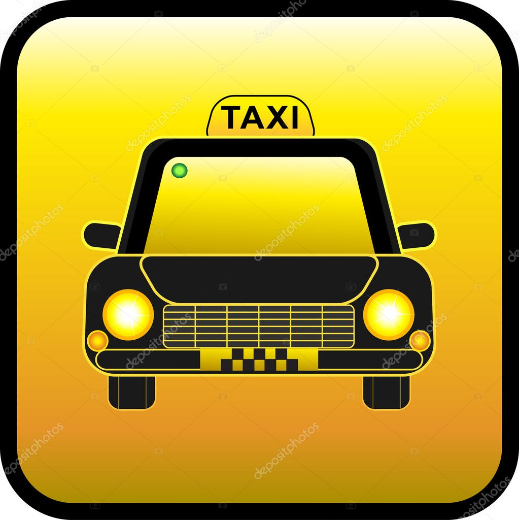 Taxi on a yellow background. Restangular button. — Stock Vector #5613932