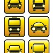 Set of icons cars and train — Stock Vector