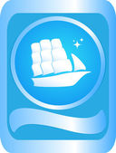 Sign with the ship — Stock Vector