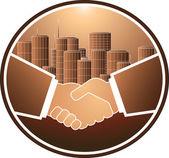 Handshake and skyscraper — Stock Vector