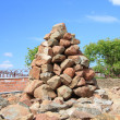 Mound of stones piled in a Buddhist temple — Stock Photo