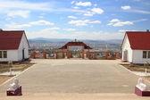 Uitzicht over de stad van boeddhistische tempel — Stockfoto