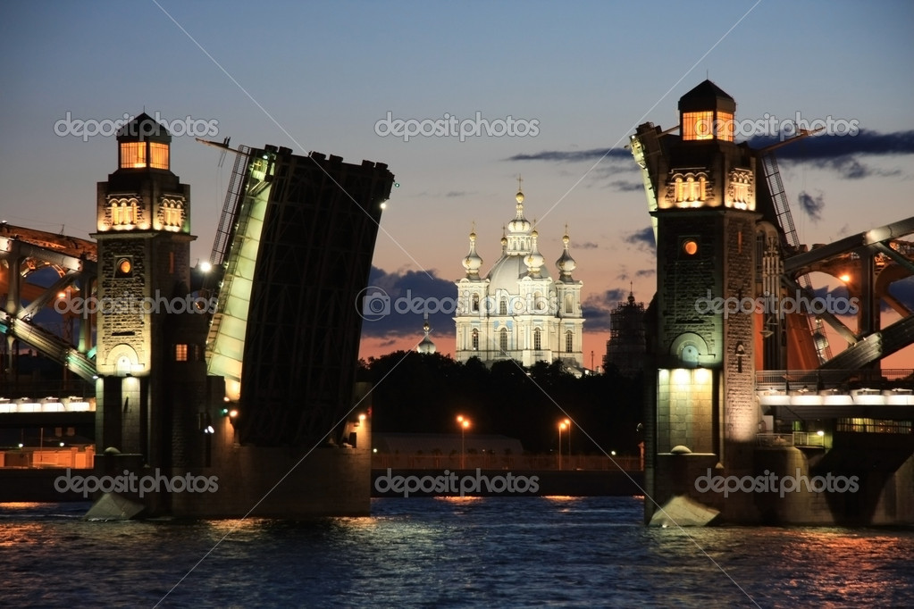 Swing bridge in st. petersburg, russia - stock image