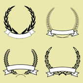 Laurel wreath with ribbon — Vector de stock