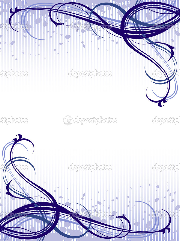 Vector blue abstract floral grunge pattern background  Stock Vector #5797980