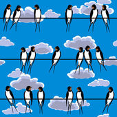 Swallows perched on a wire seamless — Stock Vector