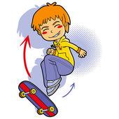 Chico patinador — Vector de stock