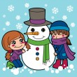 Stock Vector: Girls Making Snowman